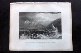 Fisher (Pub) 1844 Print. Bombay Harbour - Fishing Boats, in the Monsson, India